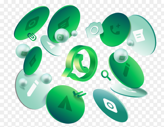 Abstract green Whatsapp logo design on transparent background PNG