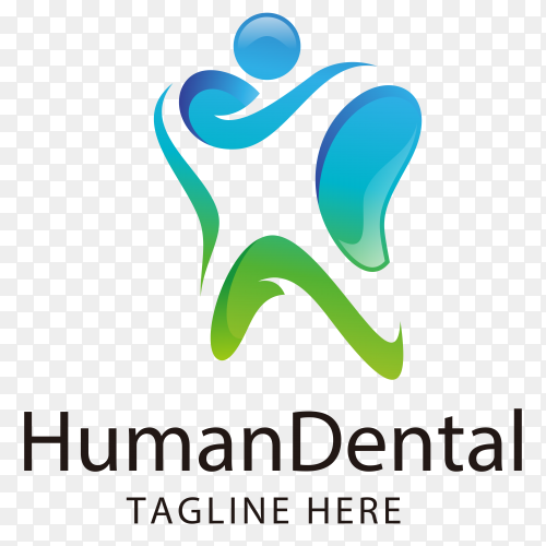 Abstract human and dental teeth logo on transparent background PNG
