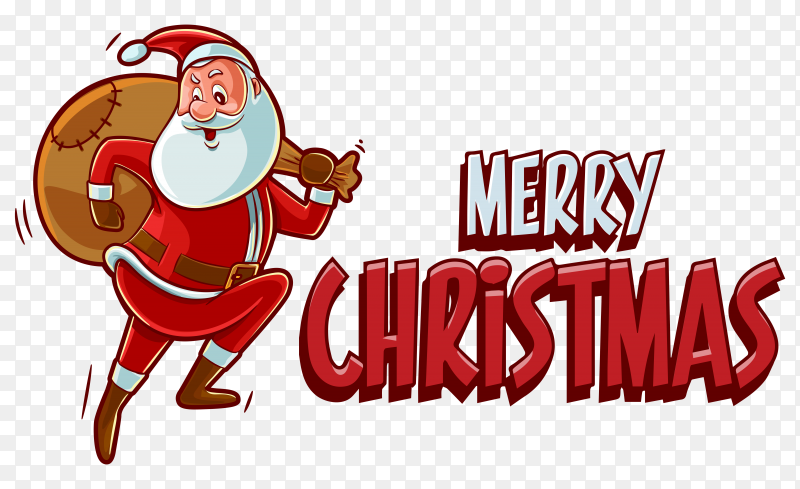 Abstract merry chrismatis Invitaion with santa claus on transparent background PNG