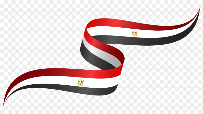 Abstract wavy flag Egypt with ribbon style on transparent background PNG