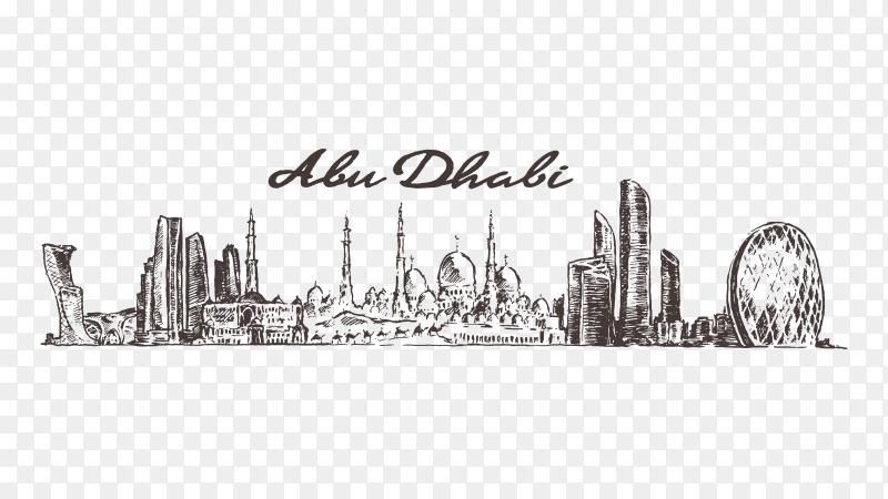 Abu Dhabi skyline illustration on transparent background PNG