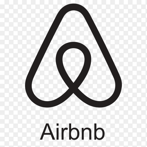 Airbnb icon design with black color on transparent background PNG
