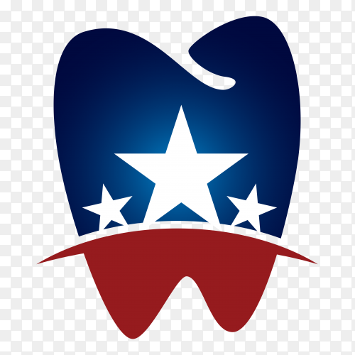 American Dental teeth logo on transparent background PNG