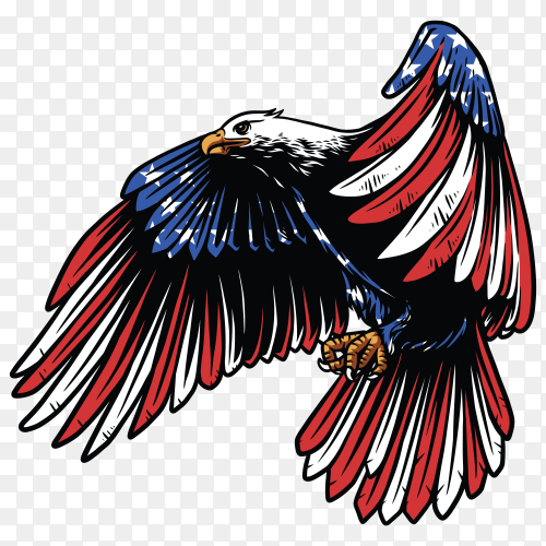 American eagle with usa flag on transparent background PNG