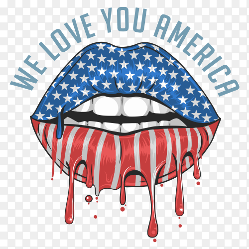 American flag shaped lips with text lettering we love you america on transparent background PNG
