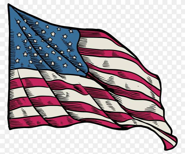 American flag waving on transparent background PNG