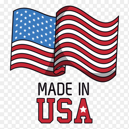 American flag with Made in USA text on transparent background PNG