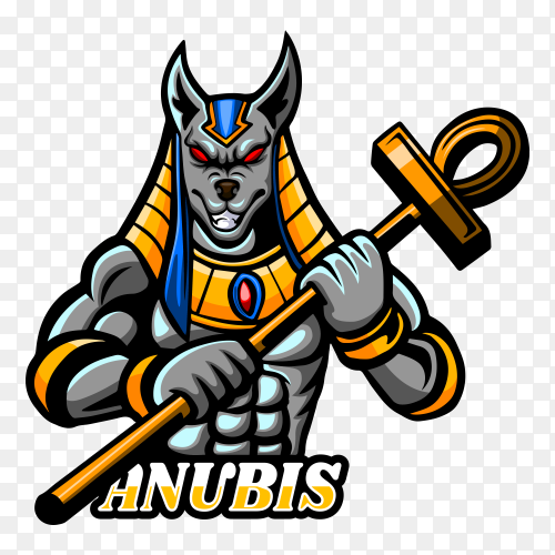 Anubis esport logo mascot design on transparent background PNG