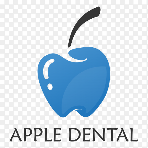 Apple Dental Logo on transparent background PNG
