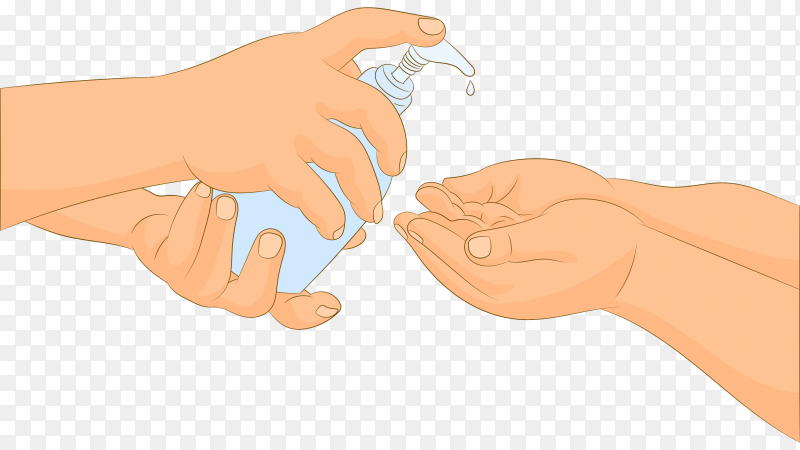 Applying cleaning gel on baby's hand on transparent background PNG
