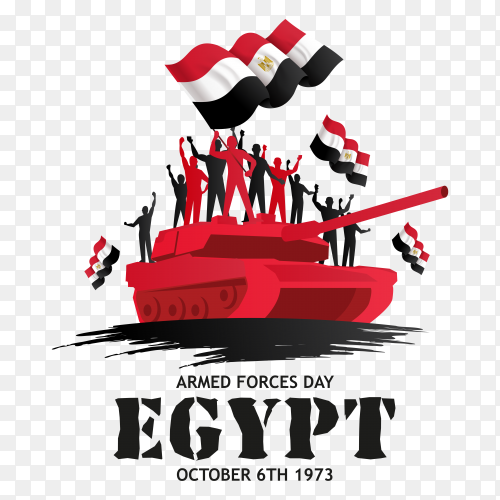 Armed force day egypt illustration on transparent background PNG
