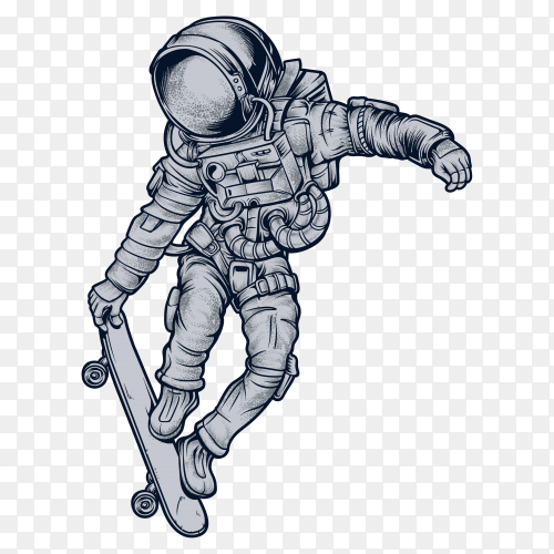 Astronaut skateboarding in space on transparent background PNG
