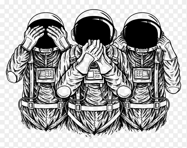 Astronauta design with black white color on transparent background PNG