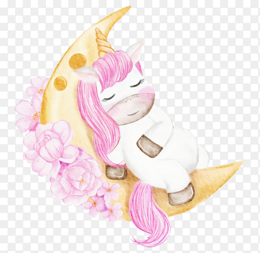 Baby unicorn sleeping on the moon with flower pink watercolor illustration on transparent background PNG
