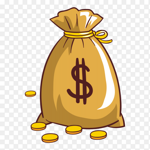 Bag with money clipart PNG