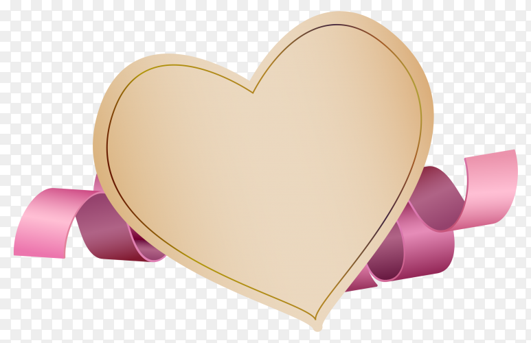 Banner heart shape with purple ribbon on transparent background PNG