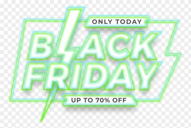 Banner promotion sale, black friday with effect green neon concept on transparent background PNG