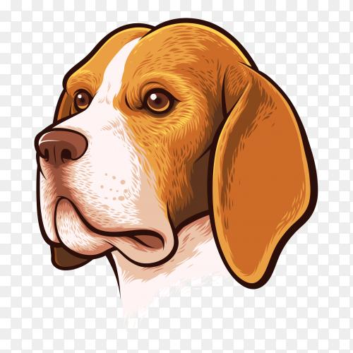 Beagle dog portrait premium vector PNG
