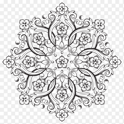 Beautiful Round floral Ornamental Element Design premium vector PNG