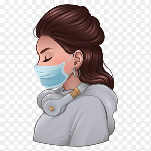 Beautiful girl with medical mask and headphones on transparent background PNG