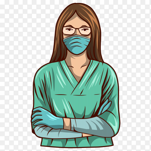 Beautiful nurse wearing surgery suit illustration on transparent background PNG