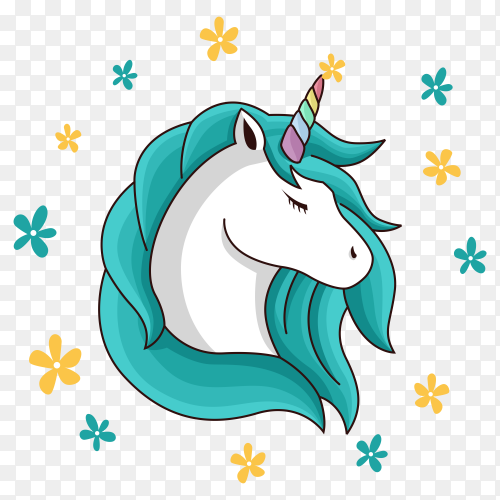 Beauty unicorn with Blue hair illustration premium vector PNG