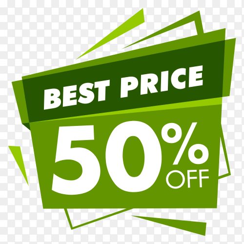 Best price with green color  banner on transparent background PNG