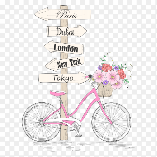 Bicycle with a basket full of flowers and signpost name the cities of the world on transparent background PNG