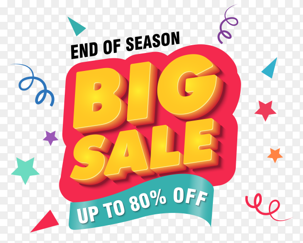 Big sale banner design template on transparent background PNG