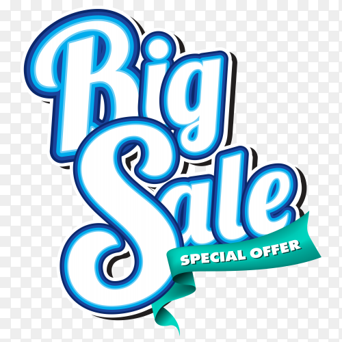Big sale colorful 3d banner on transparent background PNG