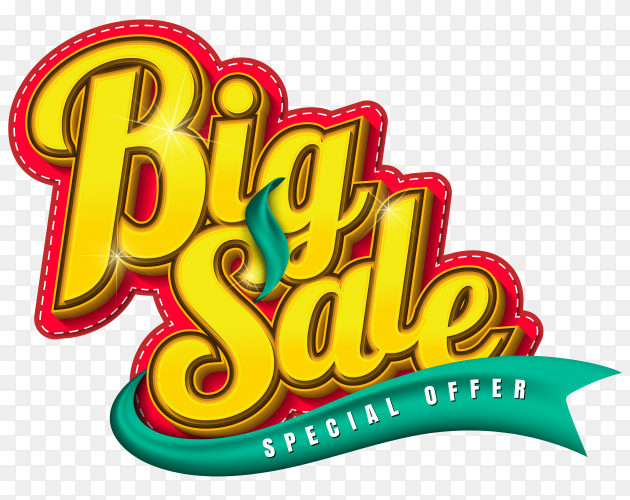 Big sale special offer banner on transparent background PNG