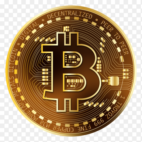 Bitcoin with golden coin on transparent background PNG