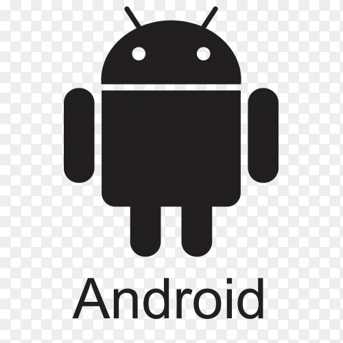 Black Android icon design on transparent background PNG