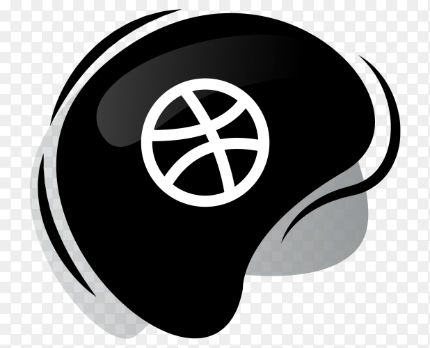 Black Dribble icon logotype on transparent PNG