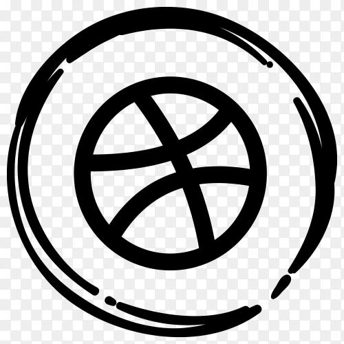 Black Dribble icon in flat design illustration on transparent PNG
