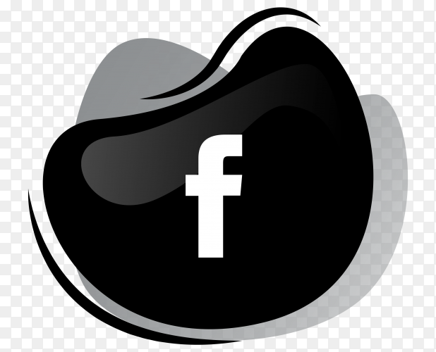 Black Facebook icon logotype on transparent background PNG