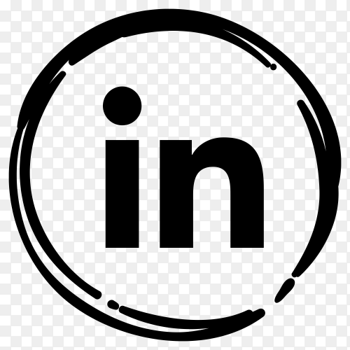 Black LinkedIn icon in flat design on transparent PNG