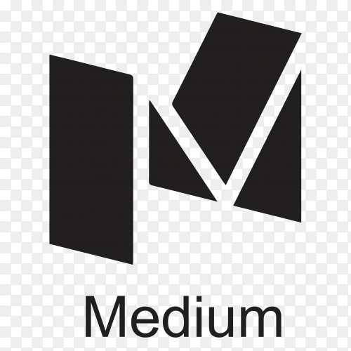 Black Medium icon design illustration on transparent PNG