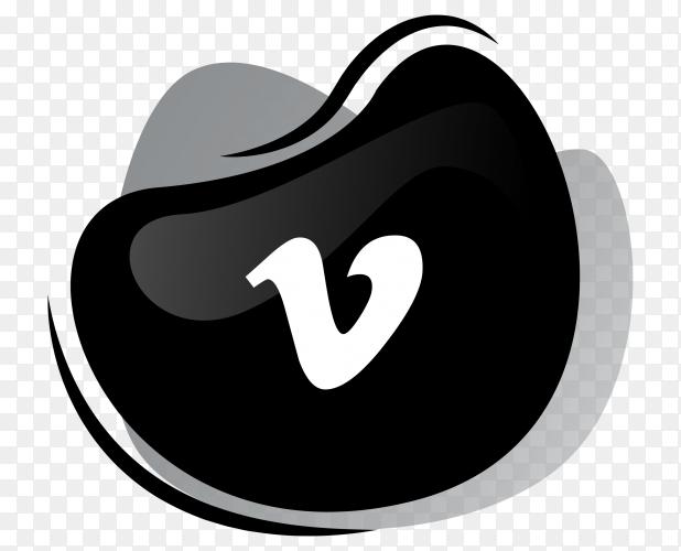 Black vimeo icon in flat design Isolated premium vector PNG
