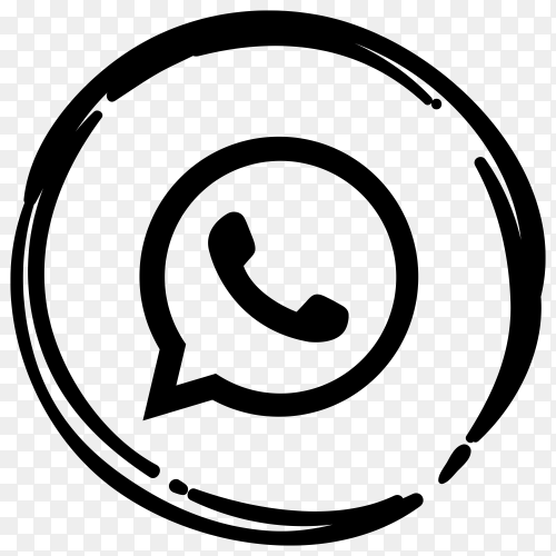 Black WhatsApp icon on transparent background PNG