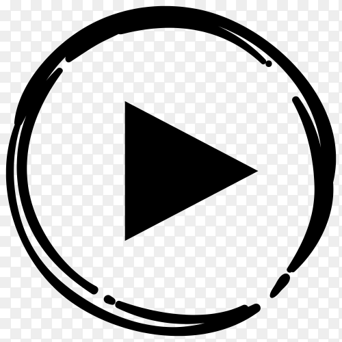 Black Youtube player icon in flat design premium vector PNG