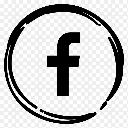 Black Facebook icon on transparent background PNG