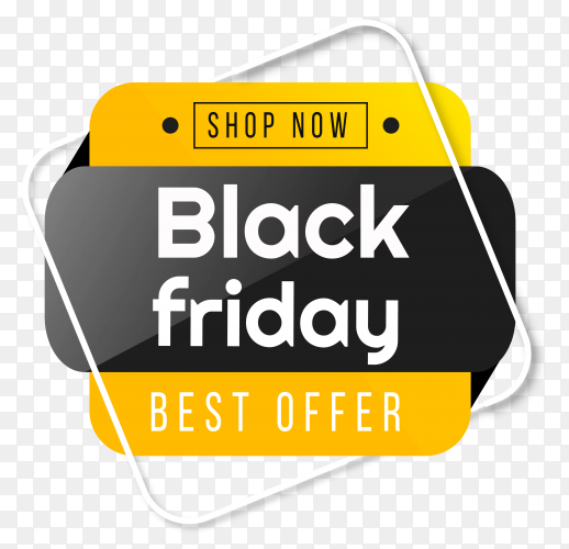 Black friday banner design on transparent background PNG