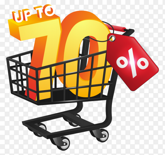 Black friday discount with black trolley on transparent background PNG