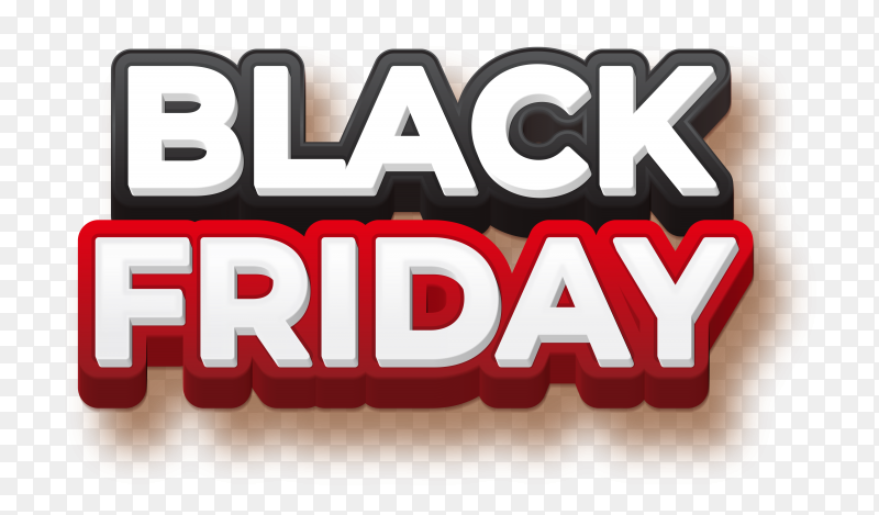 Black friday lettering design on transparent background PNG
