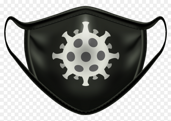 Black mask with symbol coronavirus on transparent background PNG