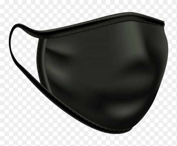 Black medical mask on transparent background PNG