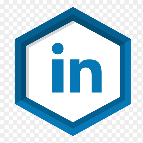 Blue Linkedin icon design isolated on transparent background PNG