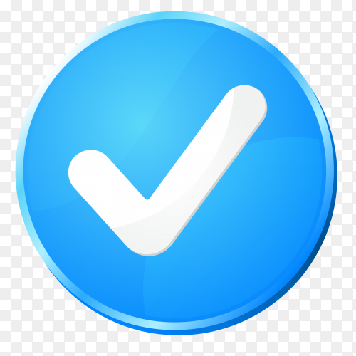 Blue correct icon on transparent background PNG