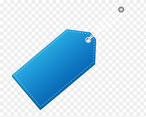 Blue empty label on transparent background PNG